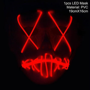 FENGRISE LED Mask Purge Halloween Funny Mask Glow In Dark Party Mask for Festival Cosplay Costume Supplies Bachelorette Decor - bfjcosplayer