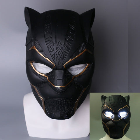 2018 New Gold Black Panther LED Helmet Avengers Black Panther Mask Superhero LED Helmet Halloween Party Props - bfjcosplayer