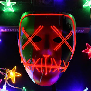 Halloween Mask LED Light Up Party Mask The Purge Election Year Great Festival Cosplay Costume Supplies LED Mask Glow In Dark - bfjcosplayer