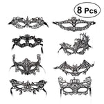 8pcs Black Half Face Mask Lace Eyemask Halloween Costume Party Prom Mask for Cosplay Masquerade Party Accessory - bfjcosplayer