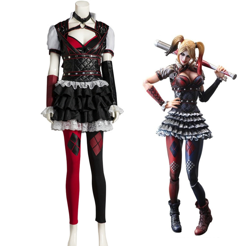 Batman Arkham Asylum Harley Quinn Halloween Carnival Cosplay Costumes Outfit Party Dress Dark Knight Suit for Adult Women - bfjcosplayer