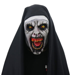 Devil Cosplay Nun Valak Mask with Hood Full Head Conjuring Scary Mask Costume Halloween Party Props - bfjcosplayer