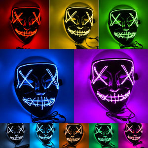 LED Mask Mascara Led Mask Light Up Neon Scary Skull Mask Glowing Party Festival Cosplay Costume - bfjcosplayer