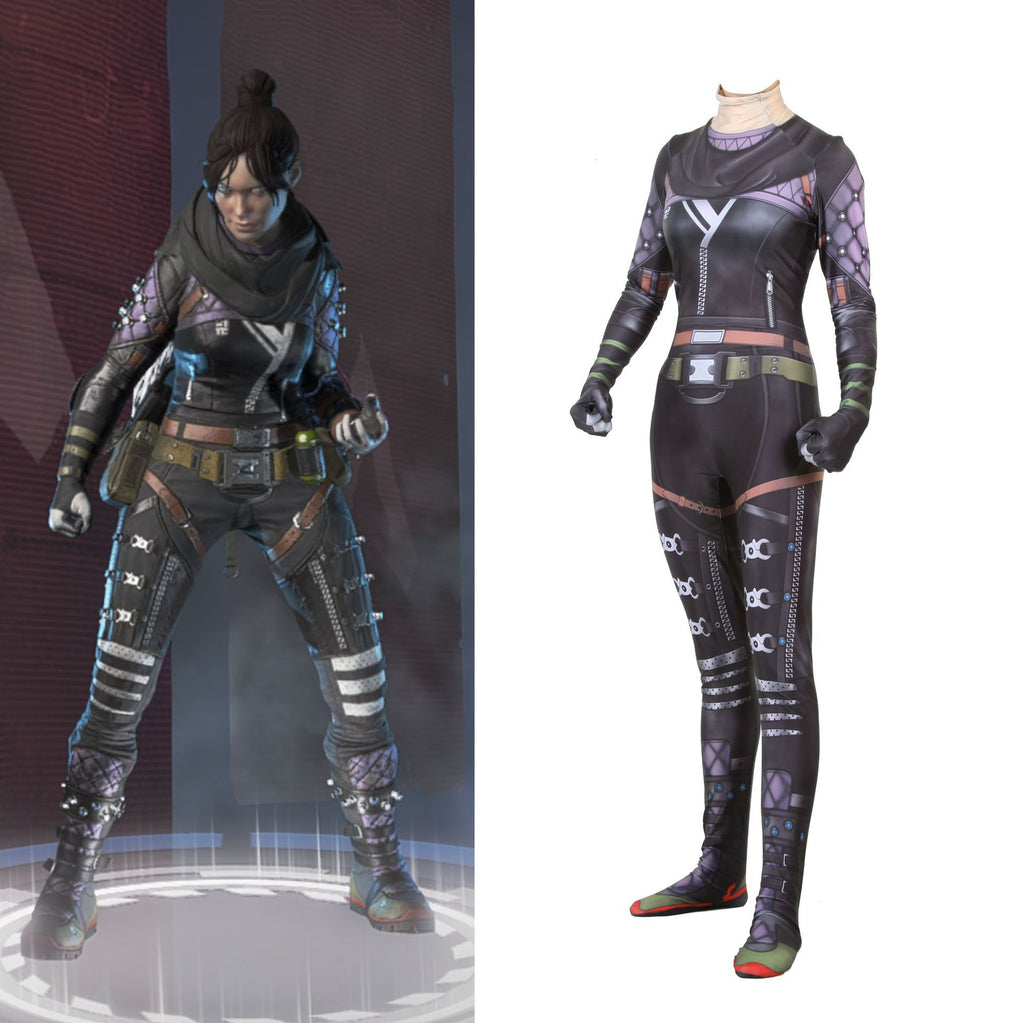 New 2019 Game Apex legends Wraith Cosplay Costume Women Girl Role Playing Zentai Spandex Bodysuit Jumpsuit Suits Anime - bfjcosplayer