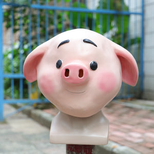2019 Sweet Cute Pig Mask Funny Animal Mask Zoo Pig Mask Halloween Latex Mask Cosplay New - bfjcosplayer
