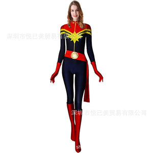 New 3D Women Girls Movie Version Captain Marvel Carol Danvers Cosplay Costume Zentai Superhero Bodysuit Suit Jumpsuits - bfjcosplayer