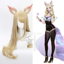 Load image into Gallery viewer, Game Character KDA K/DA Ahri Cosplay Wigs 70cm with ears KDA Heat Resistant Synthetic Hair Perucas Cosplay Fox Wig - bfjcosplayer