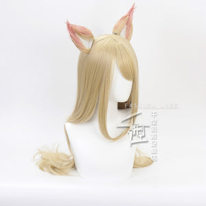 Game Character KDA K/DA Ahri Cosplay Wigs 70cm with ears KDA Heat Resistant Synthetic Hair Perucas Cosplay Fox Wig - bfjcosplayer
