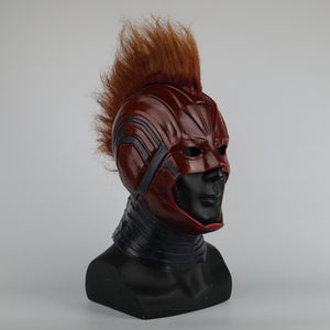 Captain Marvel Helmet Cosplay Prop Mask for Halloween Red with Yellow hair Latex Mask Halloween Cosplay Costume Prop - bfjcosplayer