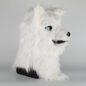 Cosplay Latex Mask Carnival Prop Costume Masks Adult Animal White Dog Mask Can Open Mouth Cosplay Halloween Party - bfjcosplayer