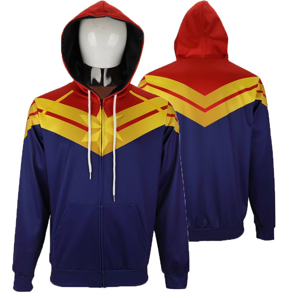 3D Printed Captain Marvel Carol Danvers Ms Marvel Costumes Hoodies Sweatshirts Tracksuit Casual Zipper Hooded Jacket Clothing - bfjcosplayer