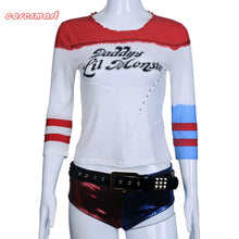Load image into Gallery viewer, Suicide Squad Harley Quinn Costume T Shirt Daddy's Lil Monster Without Holes Joker Cosplay Costumes Full Set - bfjcosplayer