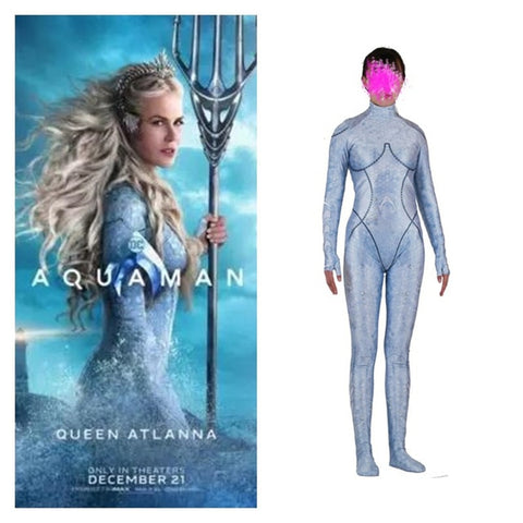 New Movie Aquaman Atlantis Queen Atlanna Cosplay Costumes Girls Women Spandex Jumpsuits Bodysuits Zentai Party Suit