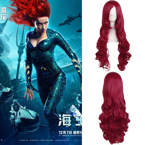 Movie Justice League Aquaman Mera wig Aquaman Role Cosplay Poseidon Hair Halloween Party Prop - bfjcosplayer