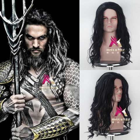 Movie Justice League Aquaman Wig Aquaman Role Play Hair Comic Cosplay Jason Momoa Wig Carnival Brown Hair for Men Adult Cosplay - bfjcosplayer
