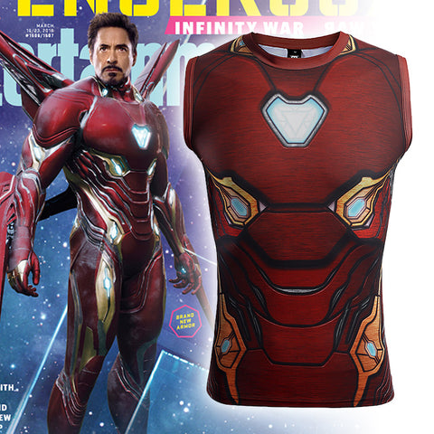 Avengers: Endgame Iron Man Tony Stark T-shirt MK50 Cosplay Costumes Men Tights Sports Fast-dry Love You Three Thousands Times - bfjcosplayer