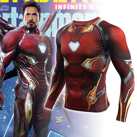Avengers: Endgame Costume Iron Man Tony Stark T-shirt Cosplay Costumes Top Men Tights Sports Love You Three Thousands Times - bfjcosplayer