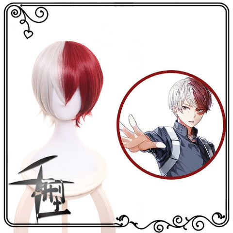 My Hero Academia Boku No Hiro Akademia Shoto Todoroki Shouto White And Red Cosplay Wig+Wig Cap - bfjcosplayer