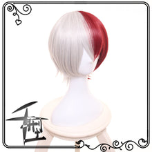 Load image into Gallery viewer, My Hero Academia Boku No Hiro Akademia Shoto Todoroki Shouto White And Red Cosplay Wig+Wig Cap - bfjcosplayer