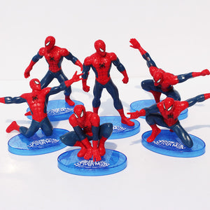 The Amazing Spider-Man Ornaments  Figure Model Doll Toys Child Gift Cute A set of 7 dolls.