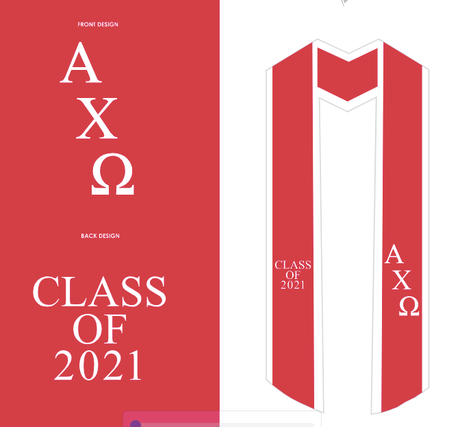 University of California-Santa Barbara - Alpha Chi Omega - Graduation Stoles - 2021