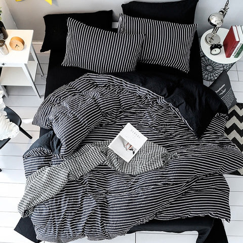 Image of Home Textile Black White Stripe Brief Bedding Set