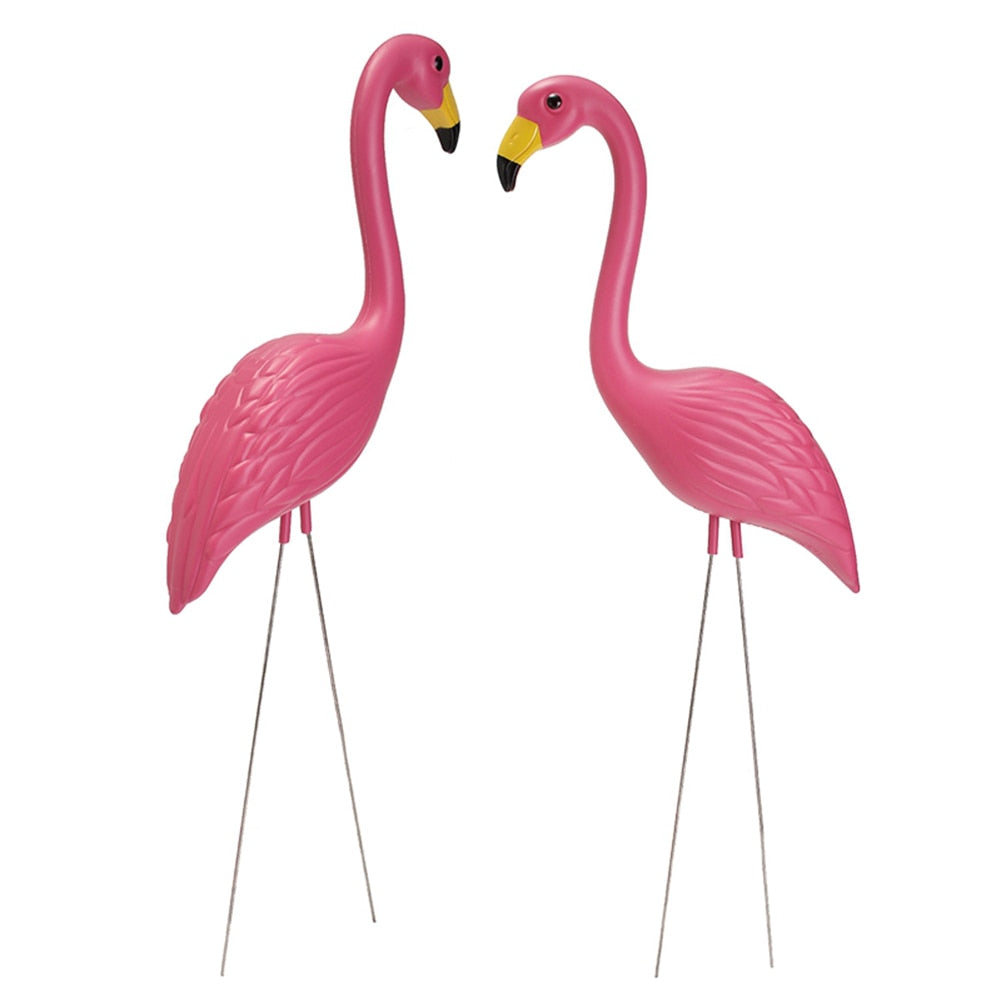 2Pcs Artificial Flamingo Ornament For Home Garden