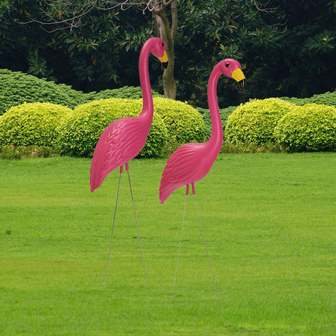 Image of 2Pcs Artificial Flamingo Ornament For Home Garden