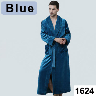 Image of Extra Long Size Bath Winter Warm Coral Fleece Bathrobe