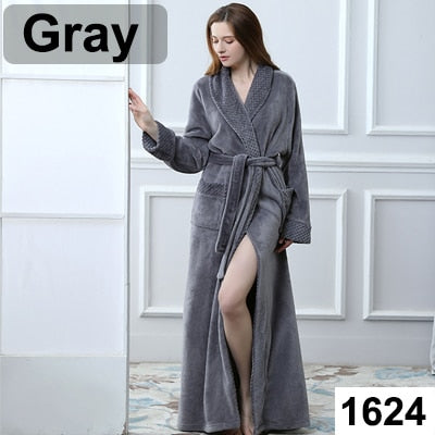Extra Long Size Bath Winter Warm Coral Fleece Bathrobe