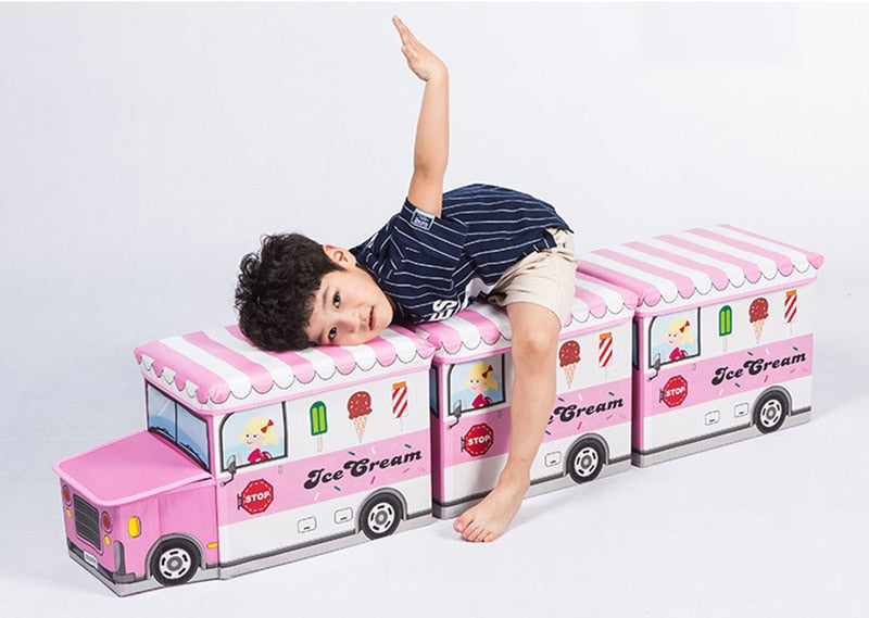 Bus Shape Toys Organizer for Kids Clothes Toy Storage