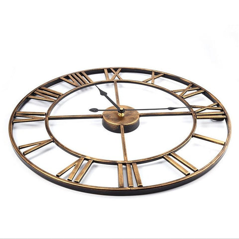 Image of 3D Circular Retro Roman Iron Vintage Wall Clock