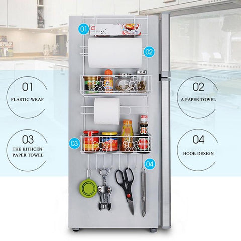 Image of Multipurpose Fridge Hanging Storage Rack Kitchen Shelf Towel