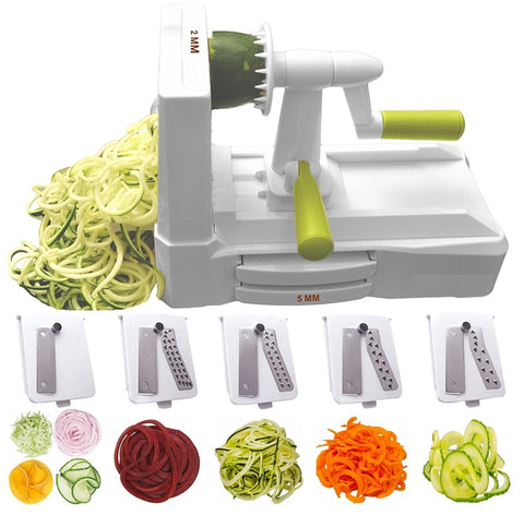 5 Blade Vegetable Spiral Slicer Cutter Chopper Kitchen Tool