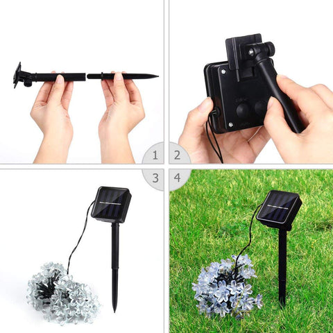 Image of 50 LEDS Peach Blossom Flower Solar Lamp For Garden