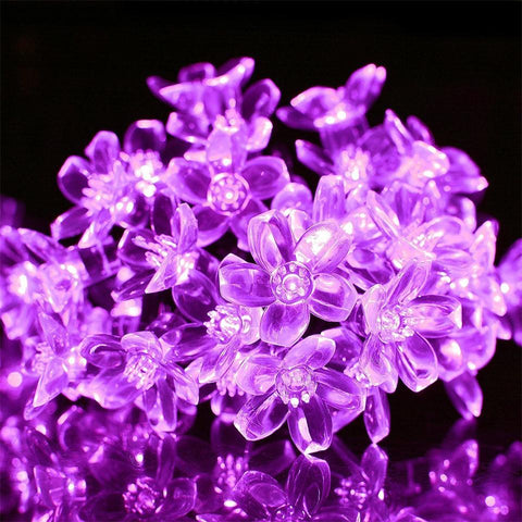 50 LEDS Peach Blossom Flower Solar Lamp For Garden