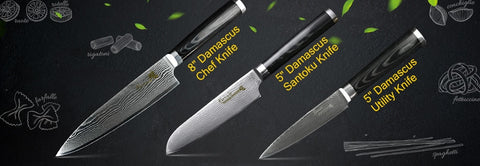 Damascus Knives Chef Kitchen Ultra Sharp Micarta Handle