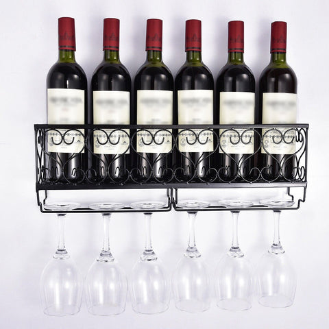 Image of Wall Mount Metal Wine Rack With Glass Holder