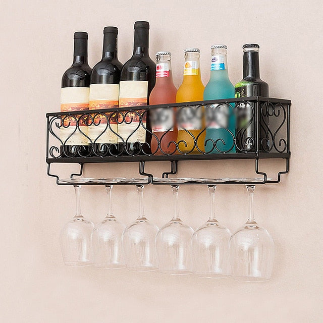 Wall Mount Metal Wine Rack With Glass Holder