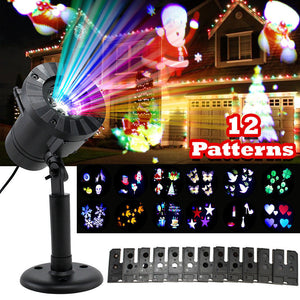 12 Patterns Christmas Lights Projector Laser garden light