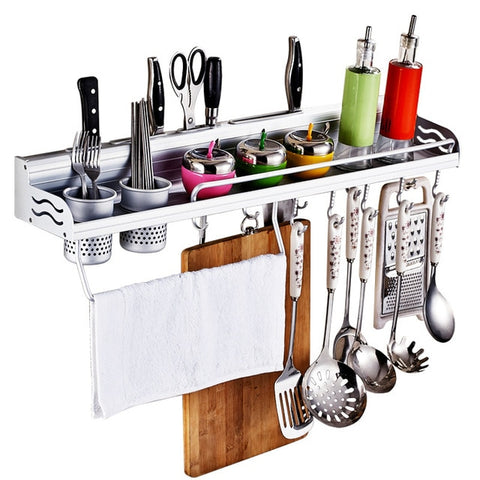 Image of Aluminum Pantry Cookware Spice Shelf Kitchen With Towel Holder