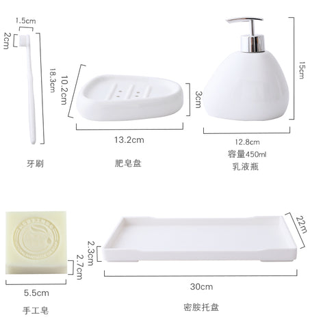 Image of Imitation marble ceramics Bath Accessories Set