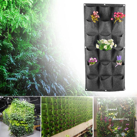 18 Pockets Non-woven Planting Bag Garden Vertical Hanging