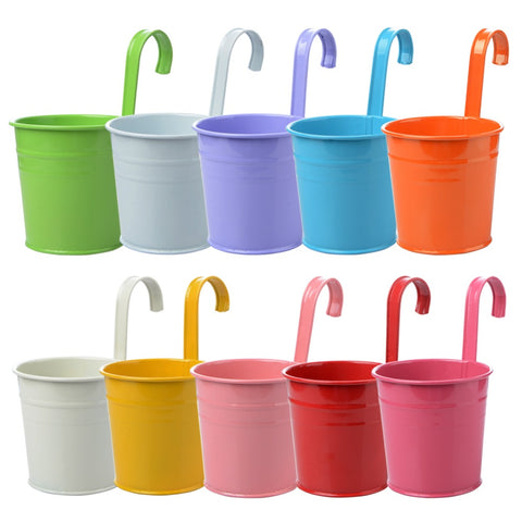 Image of 10pcs/set Colorful Hanging Flower Pot Hook Garden Planter
