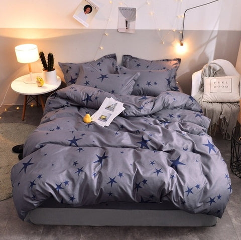 Bedding Set Blue Euro Bedspread Double Bed Sheets