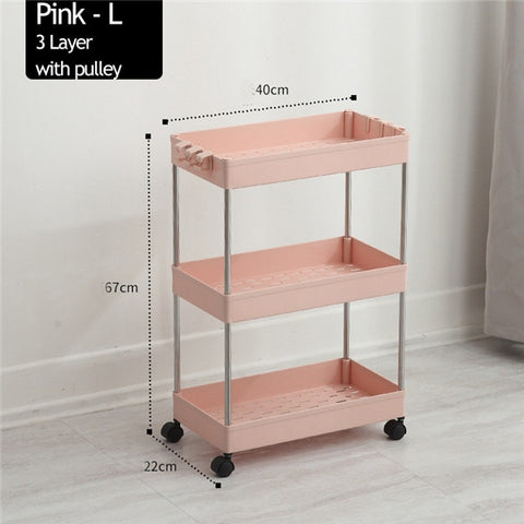 Storage Racks Slim Slide Tower Movable Plastic Organizer