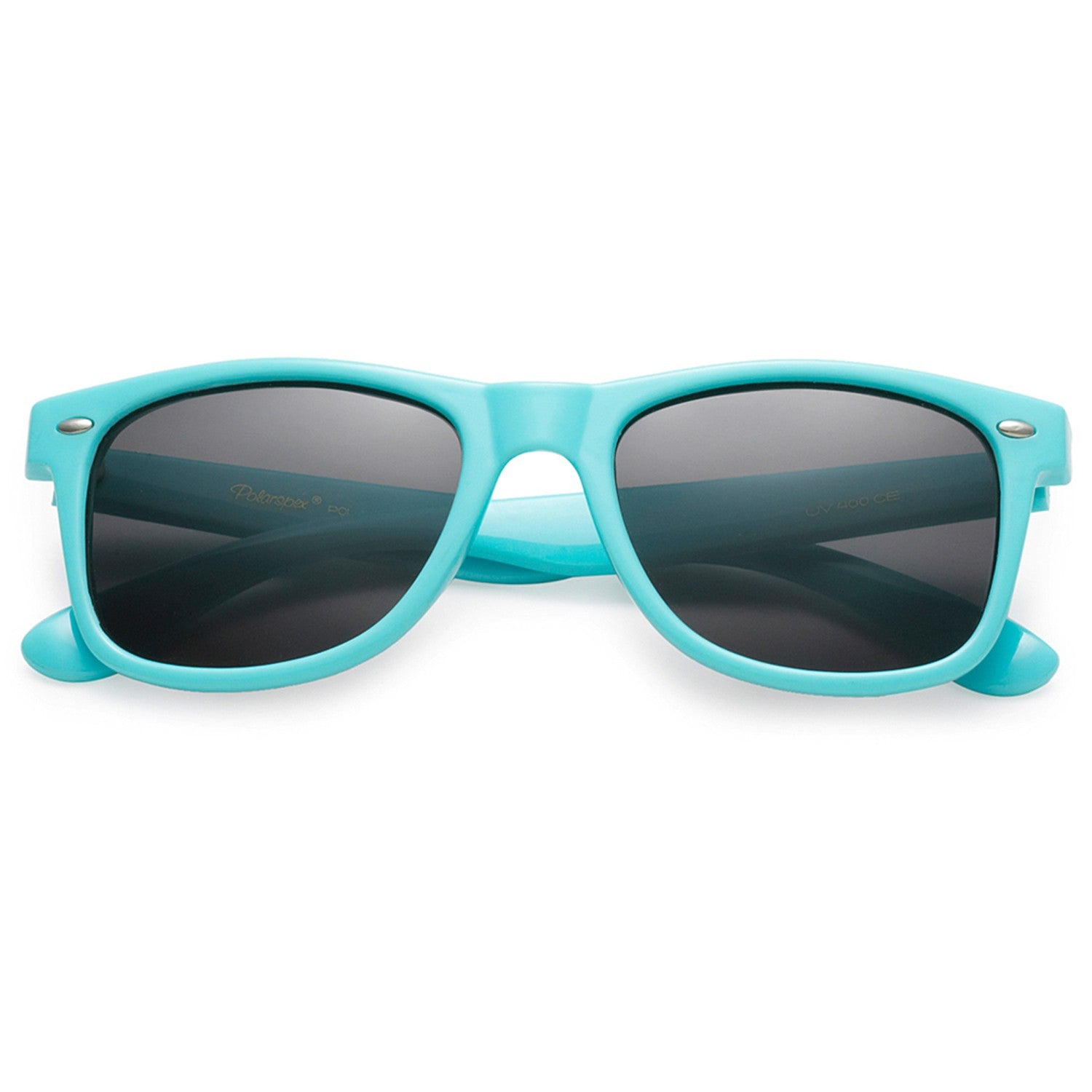 Polarspex Polarized 80's Retro Style Unisex Sunglasses with Aqua Blue Frames and Smoke Lenses