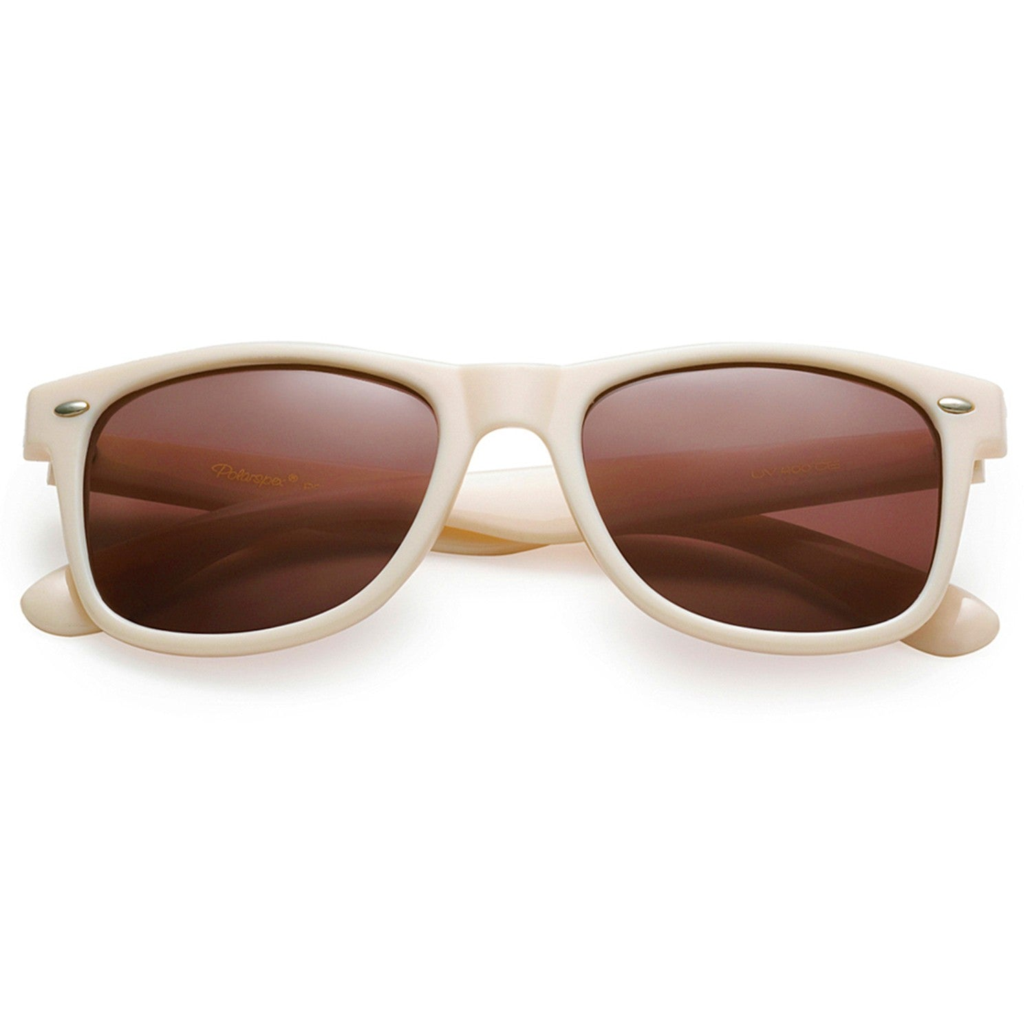 Polarspex Polarized 80's Retro Style Unisex Sunglasses with Ivory Beige Frames and Ash Smoke Lenses