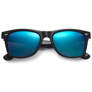 Polarspex Polarized 80's Retro Style Unisex Sunglasses with Black Frames and Ice Blue Lenses