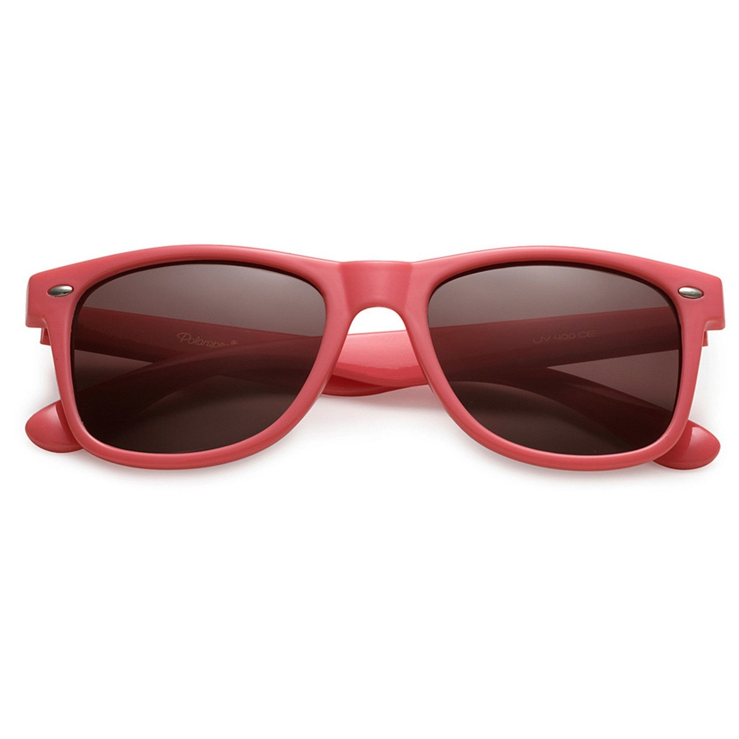 Polarspex Polarized 80's Retro Style Unisex Sunglasses with Ocean Coral Frames and Ash Smoke Lenses